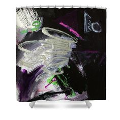 """Dream Arrives Shower Curtain by Janis Kirstein.  This shower curtain is made from 100% polyester fabric and includes 12 holes at the top of the curtain for simple hanging.  The total dimensions of the shower curtain are 71"""" wide x 74"""" tall."""