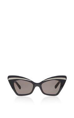 fe7482d534 Karen Walker Babou Black Cat-Eye Acetate and Metal Sunglasses