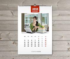 Wall Calendar 2016 Template (KW13-W17) Digital File