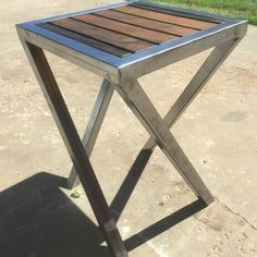 Welded steel and distressed oak handmade end tables 24w 24l for each one is 28L and the other is 34L