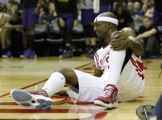 Houston Rockets guard Jason Terry (31) lies on the court after a physical play during the second half of an NBA basketball game at Toyota Center, Saturday, Dec. 6, 2014, in Houston. ( Karen Warren / Houston Chronicle  )