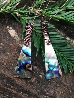 Abalone shell earrings bohemian earrings triangle earrings