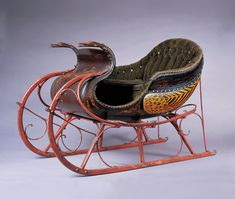 Sleigh  Signed W. Hill of Sebringville, Ontario.  Paint and gilt decorated wood, leather, and iron.  Circa 1870.