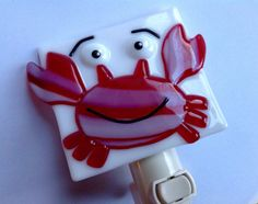 Fused Glass Happy Crab Night Light by LaGlasSea on Etsy