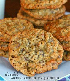 These jumbo Loaded Oatmeal Chocolate Chip Cookies are loaded-up with nuts and toffee bits turning them into the ultimate oatmeal cookie. Cookie Desserts, Just Desserts, Cookie Recipes, Delicious Desserts, Dessert Recipes, Yummy Recipes, Potluck Desserts, Holiday Desserts, Oatmeal Chocolate Chip Cookie Recipe