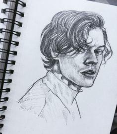 Pencil Art Drawings, Cool Art Drawings, Art Drawings Sketches, Sketch Art, Harry Styles Dibujo, Harry Styles Drawing, Guy Drawing, Painting & Drawing, Indie Art