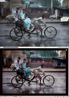 Steve McCurry & Photoshop - Two people, two carts, and a light pole seem to have been removed