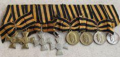 Очень редкий подлинный полный Бант Георгиевского кавалера, имевшего четыре креста и четыре медали
