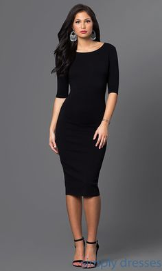 Shop three-quarter long-sleeve dresses and knee-length dresses at Simply Dresses. Below-the-knee cocktail dresses and midi-length party dresses.