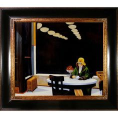 Edward Hopper 'Automat' Hand Painted Framed Canvas Art #FredericClad
