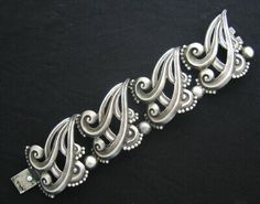 Vintage Margot de Taxco sterling silver wide scroll and bead bracelet, circa-1950s
