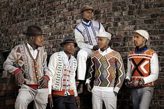 Geometric knits by Ngxokolo. The coming of age of young men in the Xhosa culture is marked by traditional events to which boys wear geometric knitwear. Ngxokolo has created an award winning collection of knits inspired by traditional Xhosa beadwork.