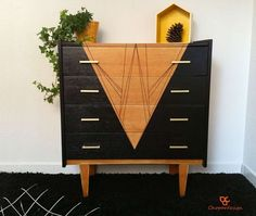 commode relookee noir bois annees 60