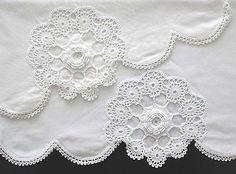Vintage-Cotton-Pillowcase-Set-White-Crochet-Scalloped-Edge-Handcrafted Crochet Scalloped Edge, Linens And More, Vintage Cotton, Pillow Cases
