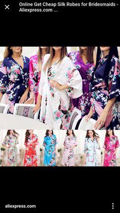 cb8aa4c318a Buy Silk Wedding Bride Bridesmaid Robe Floral Bathrobe Short Kimono Robe at  Wish - Shopping Made Fun
