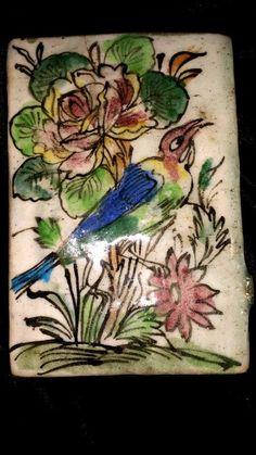 "ANTIQUE 19th CENTURY CERAMIC PERSIAN TILE  5"" X 7"" BIRD & FLOWERS Antique Pottery, Vintage Tile, Blue Bird, Flask, Islamic, 19th Century, Ali, Tiles, Miniatures"