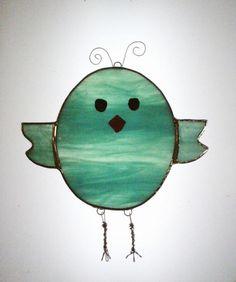 Blue Birdie Stained Glass Sun Catcher