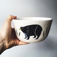 @jen.collins drew some grumpy bears on this bowl I threw.