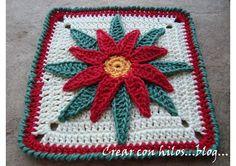 Bigú Handmade: Potholder-Granny Flor de Nochebuena (Poinsettia)...