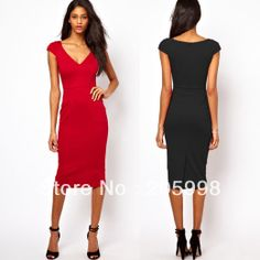 women's Vintage Bodycon V Neck Fitted Party Sheath pencil Dress for retail and wholesale US $20.99