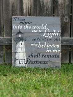 Hand painted lighthouse sign John 12:46 on by WordsofPurpose