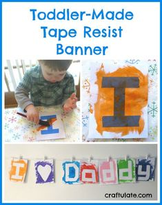 Toddler-Made Tape Resist Banner I SOO adore this toddler made bunting childrens art toddler fun kids activities kids bunting childrens Father's Day gifts or everyday bunting to enjoy Toddler Valentine Crafts, Baby Crafts, Toddler Crafts, Toddler Preschool, Valentines, Preschool Art, Craft Activities For Kids, Toddler Activities, Crafts For Kids