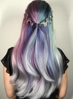 Pastel and Neon Hair Colors in Balayage and Ombre: Metallic Unicorn Hair   #pastelhair #haircolors