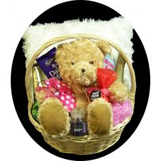 Gift basket includes - 	Fluffy cushion 	Cadbury Dairy Milk block 	Edenvale Sparkling Cuvee alcohol removed 	Foot Treatment 	Crown Lagar 	Bath Fizzer 	Fragrant Candle 	Massager 	Eye Mask 	Nylon Loofa Presented in gfit wrapped basked $99.95 #gift #baby #basket #relax #newborn www.astylishcelebration.com.au