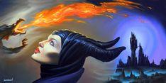 Maleficent * Artist Jim Warren Fantasy Myth Mythical Mystical Legend Elf Elves Dragon Dragons Fairy Fae Wings Fairies Mermaids Mermaid Siren Dragon Dragons Siren Sword Sorcery Magic Witch Wizard Whimsy Valkyrie Humor Funny Cute Hidden Surreal
