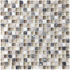 Bliss Cappucino Stone and Glass Square Mosaic Tiles | Rocky Point Tile - Online Glass Tile and Glass Mosaic Tile Store