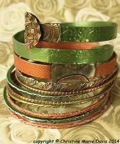 NEW... Peachy LIME Green boho GYPSY bangle by ChristinesCabinet, $84.00 Hippie Bohemian, Boho Gypsy, Bangles Making, Boho Green, Boho Look, Vintage Knitting, Gypsy Style, Vintage Metal, Color Splash