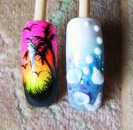 Acrylic Nail Design done by me. Hand painted Palm Trees and Birds. And the 3D shells and a starfish that I created.