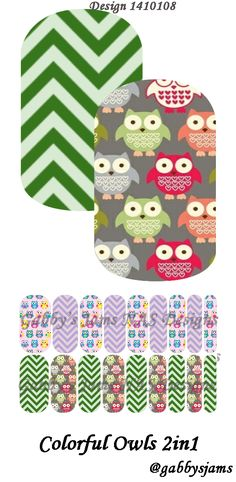 Gabbys Jams NAS Designs Jamberry NAS Wraps Colorful Owls. Shop online: https://www.jamberry.com/us/en/shop/marketplace/gabbysjams   Come check our my groups: https://www.facebook.com/gabbysjams or https://www.facebook.com/groups/gabbysjamsnasdesigns
