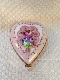 Pretty Limoges France Trinket Box Long HEART Hand Painted Porcelain Signed