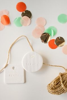 MERCI THANKS ASSORTMENT : assorted white gift tag (set of 6). $15.00 / Roonie Co via Etsy.
