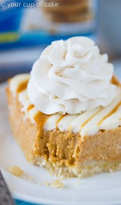 Pumpkin Pie Bars with a Cream Cheese Swirl and a no fuss crust! So easy and perfect for Thanksgiving! #ad #criscocreators