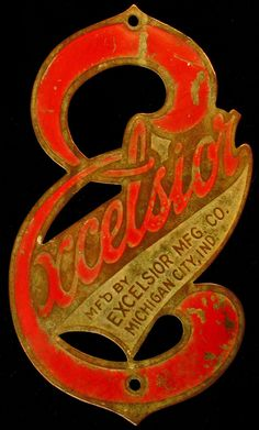 Emblem from an Excelsior bicycle made in Michigan City, Indiana.