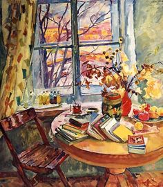 Books at the Window. 1963 - Evgenia Petrovna Antipova (Russian, 1917-2009) - wonderful hues