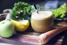 This Celery Kale Ginger Juice recipe is packed with anti-inflammatory properties, healing ginger, and loads of natural vitamins. Day 1 Juice Cleanse.