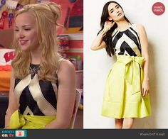Liv's striped dress with yellow skirt on Liv and Maddie.  Outfit Details: http://wornontv.net/45460/ #LivandMaddie
