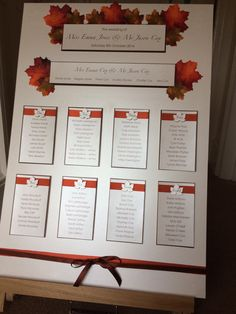 Wow your guests with this vibrant Autumnal / Fall Table plan. Each table is set on a pearlised card with a gorgeous russet satin ribbon and hand cut leaf. The table plan is completed with fabric leaves scattered along the top and tied with a ribbon at the base.  Size - SRA2 portrait ( landscape also available)  Please supply final guest list arranged in table order via email. An electronic proof will be supplied prior to printing.  Postage - all orders are sent via tracked and signed for...