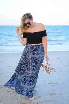 Wind Swept on the Beach | ASOS Black Off the Shoulder Crop Top Patterned Blue Maxi Skirt M.Gemi Gold Sandals Vero Beach Florida Living After Midnite Summer Outfit Fashion Blogger Jackie Giardina