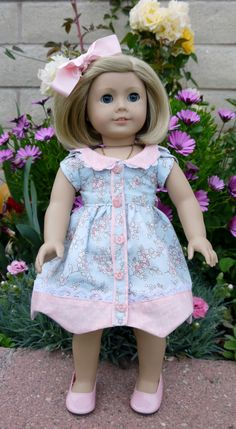 Blue Bell pattern by Melody Valarie Kit just loves her new Spring dress. I loved this pattern so much I made two. http://www.pixiefaire.com/collections/melody-valerie-couture/products/bluebelle-dress-18-doll-clothes. #pixiefaire #melodyvaleriecouture #bluebelledress