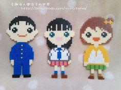 Boy and two girls hama perler beads by Ryoko
