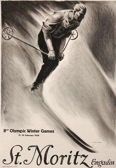 St Moritz Engadin Olympic Winter Games 1928 - Mad Men Art: The Vintage Advertisement Art Collection Vintage Ski Posters, Vintage Ads, Art Nouveau Pintura, History Of Olympics, St Moritz, Tourism Poster, Winter Games, Ad Art, Advertising Poster