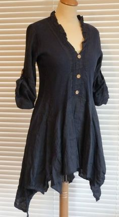 Fabulous lagenlook Italian linen button through quirky tunic style top  RSP £49