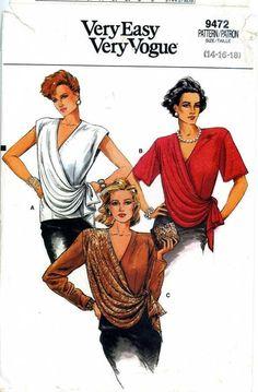 1980s Vintage PATTERN Women's Blouse sz 18 loose fitting layered drap style #Vogue #loosefitting