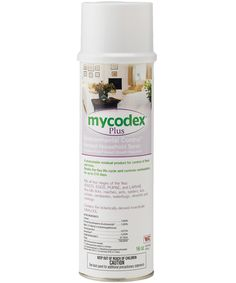 Mycodex® Plus Environmental Control™ Aerosol Household Spray    - Kills all four stages of flea life cycle: adults, eggs, larvae, pupae - Breaks the flea life cycle and controls reinfestation for up to 210 days - Kills ticks, roaches, ants, spiders, lice, crickets, centipedes, waterbugs, silverfish and sowbugs - One can covers 500 square feet  Active Ingredients: Linalool, N-Octyl Bicycloheptene Dicarboximide, Pyriproxyfen, Permethrin