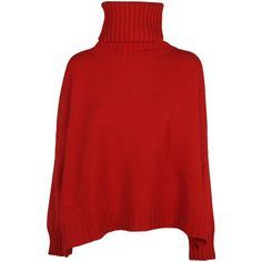 Cape Jumper ($830) ❤ liked on Polyvore featuring tops, sweaters, red, red jumper, extra long sleeve sweater, long sleeve sweater, jumpers sweaters and red long sleeve top