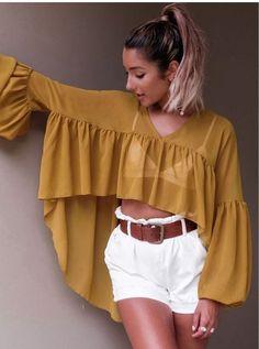 V Neck Asymmetric Hem Plain Lantern Sleeve Blouses - Cute Outfits Loose Shirts, Shirts & Tops, Shirt Blouses, Look Fashion, Hijab Fashion, Fashion Dresses, Winter Fashion, Mode Kimono, Mode Hijab